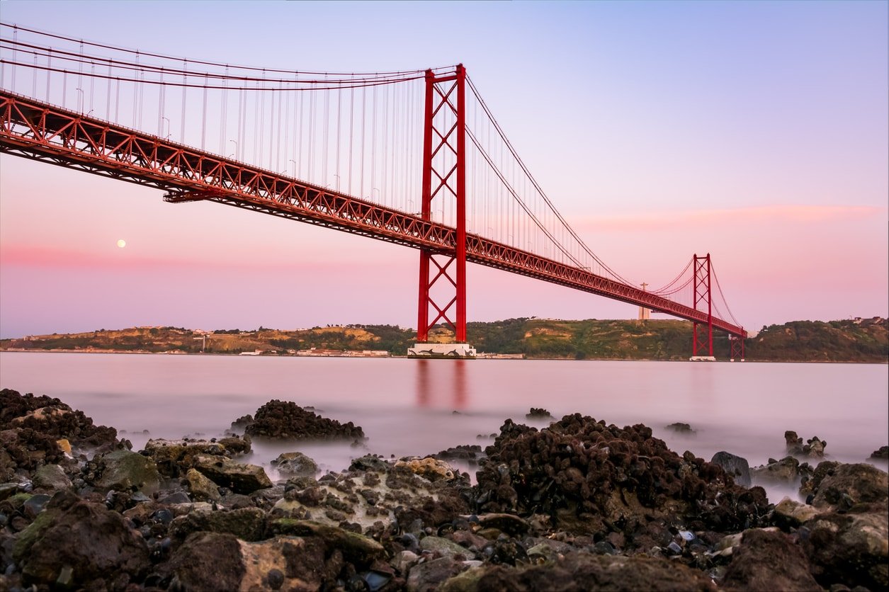 famous-bridge : view of the abril bridge in lisbon