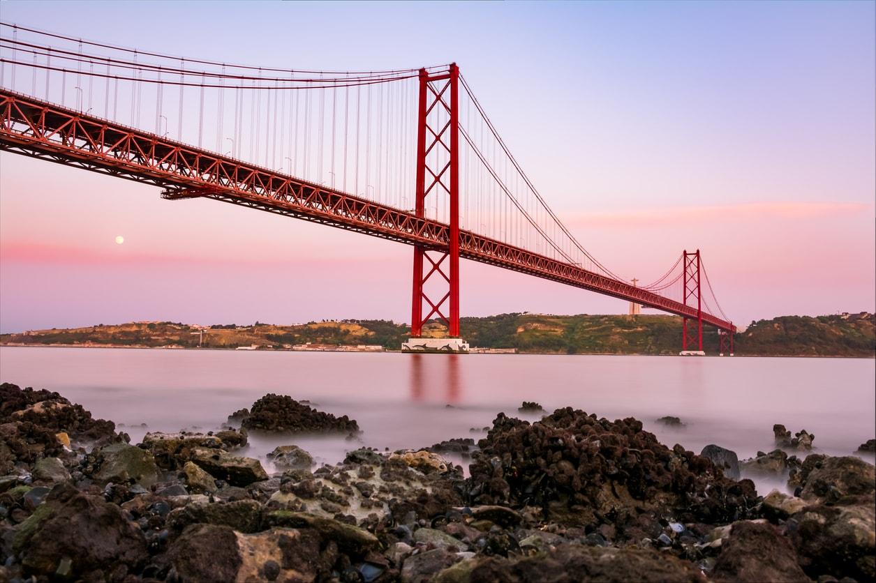 famous-bridge : view of the abril bridge in lisbon